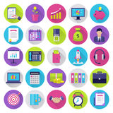 Office flat icons set. Modern icons for internet marketing, business and finance, sales and e-commerce. Interface elements in flat design in rounded shapes Royalty Free Stock Photography