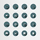 16 office flat icons set, vector Stock Photo