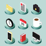 Office flat isometric icons Royalty Free Stock Images