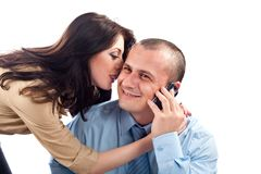 Office flirting. Office flirt with boss and secretary, isolated on white background Royalty Free Stock Photography