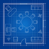 Office floor plan with linear vector symbols. Business outline furniture icons. Project sketch, furniture office, floor plan illustration Royalty Free Stock Photo