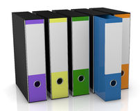Office folder. Row of four office folders in different colors (3d render Royalty Free Stock Photos