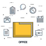 Office folder file archive organization document icons. Vector illustration Royalty Free Stock Photography