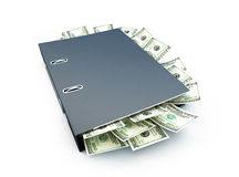 Office folder full of dollars Royalty Free Stock Images