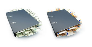 Office folder full of dollars and euro. On a white background 3D illustration Stock Photos