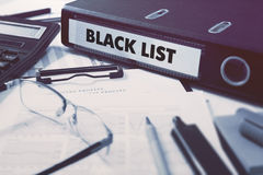 Office folder with inscription Black List Royalty Free Stock Photo