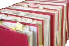 Office folders. Files in office folders, isolated on white background Royalty Free Stock Photography