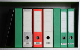 Office folders. Row of  office folders various colors Stock Images