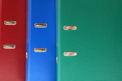 Office folders, binder. Colour office folders binder background Stock Images
