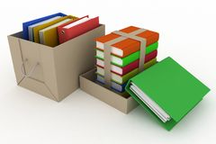 Office folders and books in cardboard box. On white background Royalty Free Stock Images