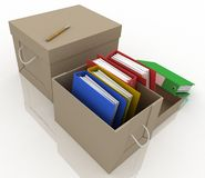 Office folders in box Stock Photography