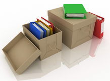 Office folders and cardboard box Royalty Free Stock Photos