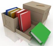 Office folders in cardboard box Royalty Free Stock Photo