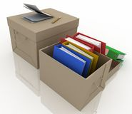 Office folders in cardboard box Royalty Free Stock Photography