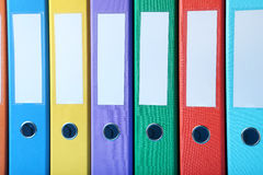 Office folders. Colorful office folders background, close up Stock Photo