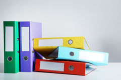 Office folders. Colorful office folders on grey background Stock Images