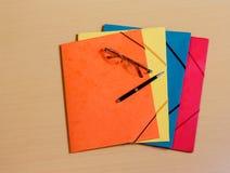 Office folders on desk Royalty Free Stock Image