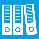 Office folders icon white. Isolated on blue background vector illustration Stock Image