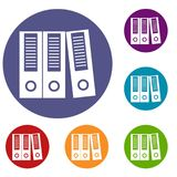 Office folders icons set. In flat circle reb, blue and green color for web Royalty Free Stock Image