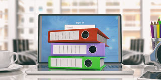 Office folders on a laptop - office background. 3d illustration. Colorful ring binders on a laptop in an office. 3d illustration Royalty Free Stock Photos