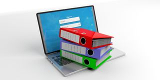 Office folders on a laptop on white background. 3d illustration. Colorful ring binders on a laptop on white background. 3d illustration Stock Image