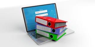 Office folders on a laptop on white background. 3d illustration Stock Image