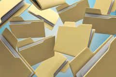 Office folders. Many office folders chaotically flying in air Royalty Free Stock Photography