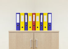 Office folders on the modern minimal office. Colorful office folders on the modern minimal office stock image