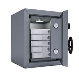 Office folders in an open metal safe. Folders illuminated lamp. Isolated render on a white background Stock Photography