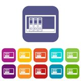 Office folders on the shelf icons set flat. Office folders on the shelf icons set vector illustration in flat style In colors red, blue, green and other Stock Images