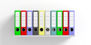 Office folders on a shelf - white background. 3d illustration Stock Photography