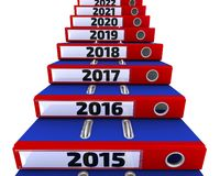 Folders stacked in the form of steps, labeled the years 2015-2021 royalty free illustration