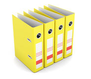 Office folders standing in a row isolated on white background. 3. Office folders standing in a row isolated on white background. Yellow ring binders. 3d render Royalty Free Stock Image