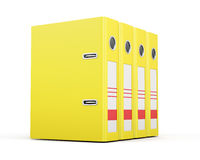 Office folders standing in a row. Yellow ring binders. 3d render Stock Images