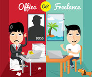 Office or freelance, flat design,character design Stock Photography