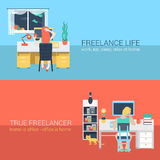 Office and freelance work in workplace furniture vector concept Stock Image