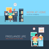 Office and freelance work in workplace furniture vector concept. Set of young man woman home office freelance homework laptop table workplace back view. Flat Stock Image