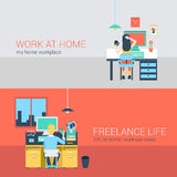Office and freelance work in workplace furniture vector concept Royalty Free Stock Photos