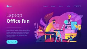 Office fun concept landing page. stock image