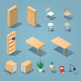 Office funiture set. Isometric light brown office furniture set. Collection includes tables, shelves, bureau, cabinet, locker, lamps, chairs, houseplants, trash Royalty Free Stock Photos