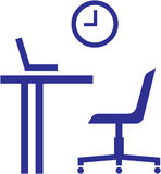 Office furniture – table, chair, laptop Royalty Free Stock Images