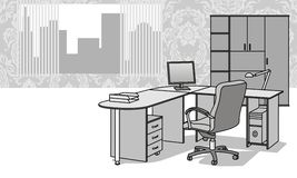 Office furniture. Interior with office furniture and a view from the window Stock Photos