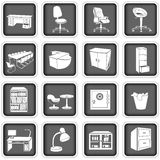 Office furniture. Collection of different office furniture icons Stock Images