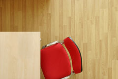 Office furniture. Office with furniture, wooden table, red chairs and ground of platform Stock Images