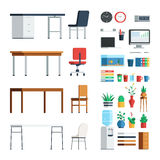 Office furniture and appliances. Elements for create interior scene modern decoration. Vector business illustration flat style design set  on white background Stock Photos
