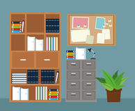 Office furniture cabinet file potted plant notice board. Vector illustration eps 10 Royalty Free Stock Photo