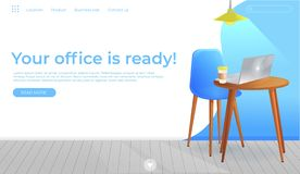 Office furniture design banner. Workplace with table and laptop and coffee. Modern interior . Landing Page Website conept stock photos