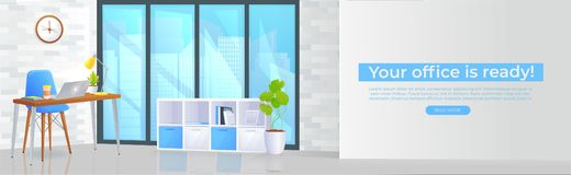 Office furniture design banner. Workplace with table and laptop and coffee. Modern interior . Landing Page Website conept royalty free stock image