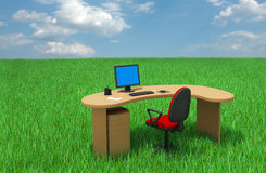 Office furniture on grass. Office furniture, grass and cloud sky Royalty Free Stock Image