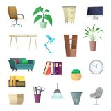 Office furniture and interior objects. Cartoon collection Stock Photo